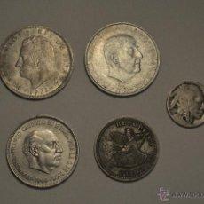 Monedas de España: LOTE 5 MONEDAS- 3 MONEDAS ESPAÑOLAS ,1 PESO CHILENO Y 1/4 DE DOLAR CON CABEZA INDIO. Lote 51186825