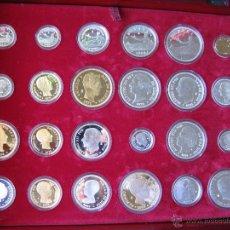 Monedas de España: COLECCION DE 24 MONEDAS DE HISTORIA DE LA PESETA + ULTIMA EMISION PTA + RELOJ SELLO AUREO FELIPE II. Lote 53489286