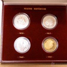 Monedas de España: LOTE DE 4 PESETAS HISTORICAS ACUÑADAS EN PLATA FINA 999/000 Y UNA CHAPADA EN ORO DE 24 QUILATES. Lote 54693060