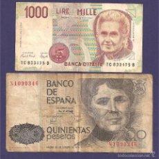 Monedas de España: LOTE DE DOS BILLETES . ESPAÑA E ITALIA. Lote 66933178