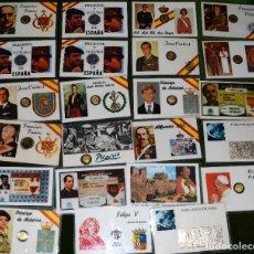Monedas de España: GRAN LOTE DE VEINTITRÉS (23) CURIOSOS CARNETS PLASTIFICADOS, MUCHOS CON MONEDAS REPRESENTATIVAS. Lote 76924011