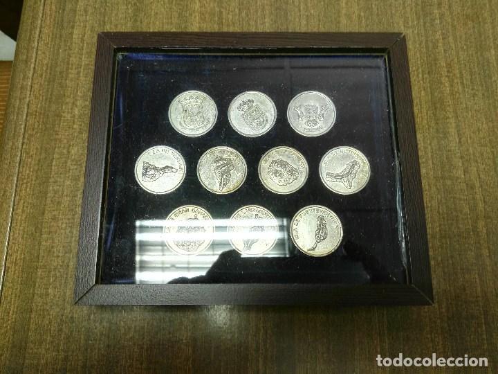 JUEGO DE 10 ARRAS ISLAS CANARIAS CON ESTUCHE (Numismática - España Modernas y Contemporáneas - Colecciones y Lotes de conjunto)