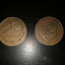 Monedas de España: MONEDAS (2) CONMEMORATIVAS MUNDIAL ESPAÑA 82 , MONEDA DE URUGUAY Y DE INGLATERRA .. Lote 94905678