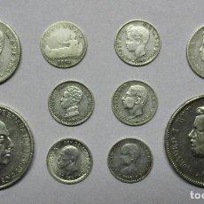 Monedas de España: CONJUNTO DE DIEZ MONEDAS ESPAÑOLAS ANTIGUAS EN PLATA. LOTE 0627. Lote 97784535