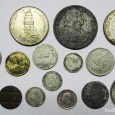 Monedas de España: CONJUNTO DE 17 MONEDAS ESPAÑOLAS ANTIGUAS, MEDALLAS, FICHAS, ETC. 10 DE ELLAS EN PLATA. LOTE 0635. Lote 98209491