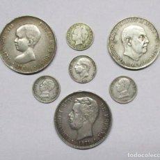 Monedas de España: CONJUNTO DE SIETE MONEDAS ESPAÑOLAS ANTIGUAS EN PLATA. LOTE 0642. Lote 98742739