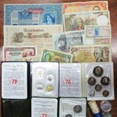 Monedas de España: CONJUNTO DE MONEDAS ANTIGUAS DE ESPAÑA, CARTERAS Y CARTUCHO DE F.N.M.T, BILLETES, ETC. LOTE 0675. Lote 100888823