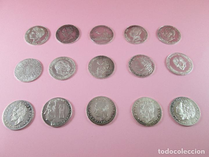 LOTE 15 MONEDAS-1 PESETA-PLATA 925-BUEN ESTADO-VER FOTOS (Numismática - España Modernas y Contemporáneas - Colecciones y Lotes de conjunto)