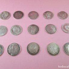 Monedas de España: LOTE 15 MONEDAS-1 PESETA-PLATA 925-BUEN ESTADO-VER FOTOS. Lote 103800363