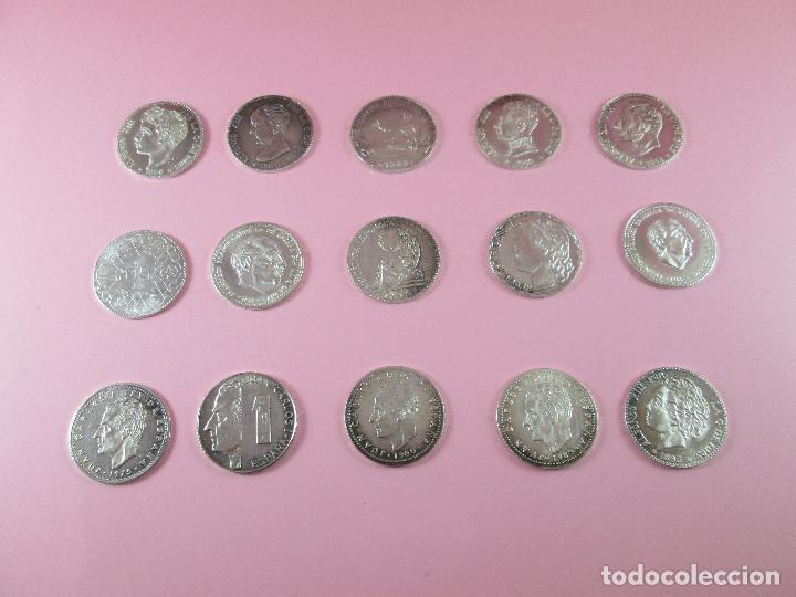 Monedas de España: lote 15 monedas-1 peseta-plata 925-buen estado-ver fotos - Foto 2 - 103800363