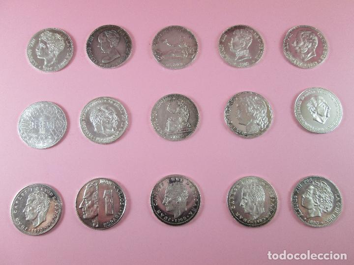 Monedas de España: lote 15 monedas-1 peseta-plata 925-buen estado-ver fotos - Foto 3 - 103800363