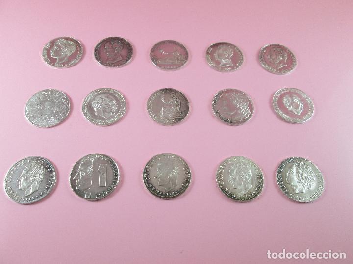 Monedas de España: lote 15 monedas-1 peseta-plata 925-buen estado-ver fotos - Foto 5 - 103800363