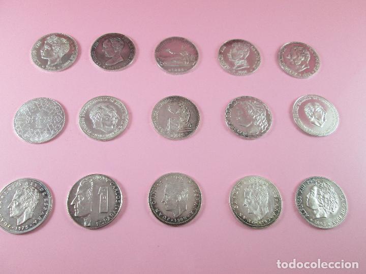 Monedas de España: lote 15 monedas-1 peseta-plata 925-buen estado-ver fotos - Foto 10 - 103800363
