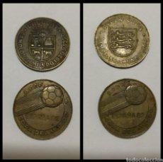 Monedas de España: LOTE 2 MONEDAS CONMEMORATIVAS MUNDIAL ESPAÑA 82 , MONEDA DE URUGUAY Y DE INGLATERRA .. Lote 94905678