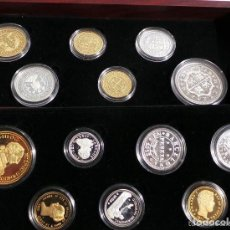 Monedas de España: HISTORIA DE LA MONEDA DE ESPAÑA, COMPUESTA DE 25 MEDALLAS PROFF EN PLATA FINA 999 Y 8 EN BAÑO DE ORO. Lote 107603091