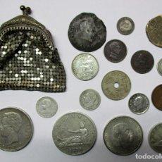 Monedas de España: PRECIOSO BOLSO DE MALLA DE PRINCIPIOS DEL SIGLO XX, CON 16 MONEDAS ESPAÑOLAS ANTIGUAS. LOTE 0806. Lote 108785623