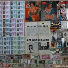 Monedas de España: CAJA CON MONEDAS, BILLETES, POSTALES, CARTERAS DE LA F.N.M.T., LIBROS, REVISTAS, LINGOTE. LOTE 0039. Lote 108898691