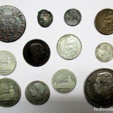 Monedas de España: CONJUNTO DE DOCE MONEDAS ESPAÑOLAS ANTIGUAS, SIETE DE ELLAS EN PLATA. LOTE 0810. Lote 108967855