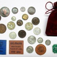 Monedas de España: BOLSA CON CON 22 MONEDAS ESPAÑOLAS ANTIGUAS, 8 DE ELLAS EN PLATA, Y 4 VALES DINERARIOS. LOTE 0811. Lote 109064103