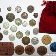Monedas de España: BOLSA CON CON 22 MONEDAS ESPAÑOLAS ANTIGUAS, 8 DE ELLAS EN PLATA, Y 6 VALES DINERARIOS. LOTE 0812. Lote 109067679