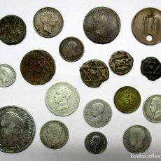 Monedas de España: CONJUNTO DE 18 MONEDAS ESPAÑOLAS ANTIGUAS, FELUSES DE MARRUECOS, TOKENS, OCHO EN PLATA. LOTE 0818. Lote 109348807