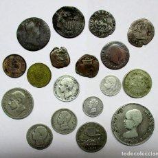 Monedas de España: CONJUNTO DE 18 MONEDAS ESPAÑOLAS ANTIGUAS, TOKEN, MEDALLA, DE ELLAS OCHO EN PLATA. LOTE 0819. Lote 109352555