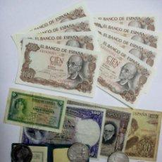 Monedas de España: CONJUNTO DE 8 MONEDAS DE PLATA ESPAÑOLAS ANTIGUAS, 12 BILLETES ESPAÑOLES ANTIGUOS Y OTRA. LOTE-0823. Lote 109448199