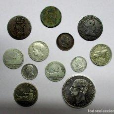 Monedas de España: CONJUNTO DE DOCE MONEDAS ESPAÑOLAS ANTIGUAS, SIETE DE ELLAS EN PLATA. LOTE 0827. Lote 109579023