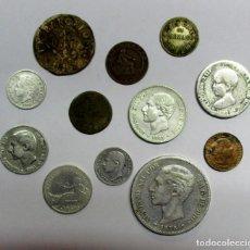 Monedas de España: CONJUNTO DE DOCE MONEDAS ESPAÑOLAS ANTIGUAS, SIETE DE ELLAS EN PLATA. LOTE 0827. Lote 109586099