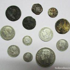 Monedas de España: CONJUNTO DE DOCE MONEDAS ESPAÑOLAS ANTIGUAS, SIETE DE ELLAS EN PLATA. LOTE 0830. Lote 109732695