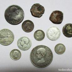 Monedas de España: CONJUNTO DE DOCE MONEDAS ESPAÑOLAS ANTIGUAS, SIETE DE ELLAS EN PLATA. LOTE 0832. Lote 109776119