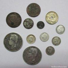 Monedas de España: CONJUNTO DE 12 MONEDAS ANTIGUAS ESPAÑOLAS EN DIFERENTES CONSERVACIONES 7 DE ELLAS EN PLATA LOTE 0923. Lote 114758943