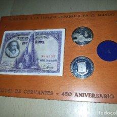 Monedas de España: HOMENAJE CERVANTES-450 ANIVERSARIO-2 MONEDAS PLATA Y 1 BILLETE. Lote 115005163