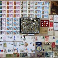 Monedas de España: CAJA CON MONEDAS, BILLETES, S.P.D., LIBROS, LOTERIA, ADHESIVOS, SET VATICANO 1976, SELLOS..LOTE 0122. Lote 128251035