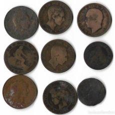 Monedas de España: 9 MONEDAS DE COBRE . Lote 134324750