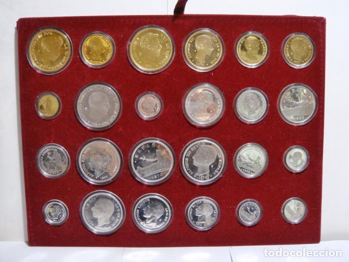 Monedas de España: HISTORIA DE LA PESETA. EMISION ESPECIAL PLATA Y ORO. 24 MONEDAS FNMT - Foto 2 - 137993970