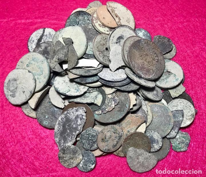 LOTE DE MÁS DE 100 MONEDAS PARA LIMPIAR Y CATALOGAR - 18 (Numismática - España Modernas y Contemporáneas - Colecciones y Lotes de conjunto)