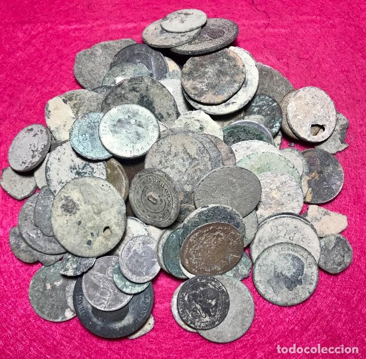 LOTE DE MÁS DE 100 MONEDAS PARA LIMPIAR Y CATALOGAR - 17 (Numismática - España Modernas y Contemporáneas - Colecciones y Lotes de conjunto)