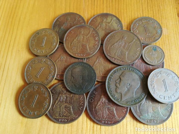 SET MONEDAS DE BRONSE INGLATERRA. MALTA (Numismática - España Modernas y Contemporáneas - Colecciones y Lotes de conjunto)