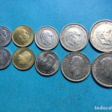 Monedas de España: L-31 ) ESPAÑA,,10 MONEDAS SERIES DE FRANCO Y J,CARLOS,,VALORES 0,50-1-5-25-50, MUY BUENAS,,. Lote 143387630