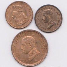 Monedas de España: MONEDAS - ALFONSO XIII - LOTE DE 3 MONEDAS 2 DE 1 CTMO. 1906 Y 1913 Y 2 CTMOS. 1911 (EBC+/SC). Lote 145568150