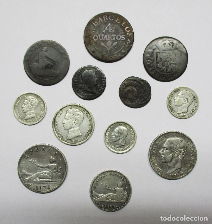 CONJUNTO DE 12 MONEDAS ESPAÑOLAS ANTIGUAS. SIETE DE LAS MONEDAS EN PLATA. LOTE 1441 (Numismatik - Moderne und zeitgenössische spanische Münzen - Sammlungen)