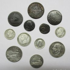 Monedas de España: CONJUNTO DE 12 MONEDAS ESPAÑOLAS ANTIGUAS. SIETE DE LAS MONEDAS EN PLATA. LOTE 1441. Lote 147564786