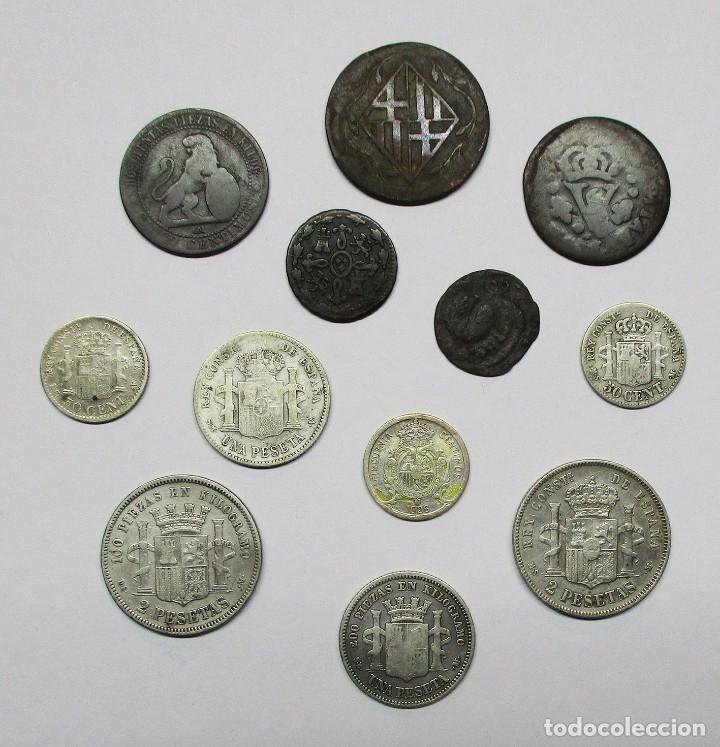 Münzen von Spanien: CONJUNTO DE 12 MONEDAS ESPAÑOLAS ANTIGUAS. SIETE DE LAS MONEDAS EN PLATA. LOTE 1441 - Foto 2 - 147564786