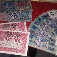 Monedas de España: BILLETES ANTIGUOS DE AUSTRIA, 2 DE 2, 2 DE 20 Y 7 DE 10 KRONEN, NUEVOS. Lote 147674546