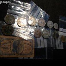 Monedas de España: (L-M118) LOTE DE MONEDAS ESPAÑOLAS Y BILLETES DESDE ISABEL II. Lote 147729502