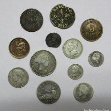Monedas de España: CONJUNTO DE 12 MONEDAS ESPAÑOLAS ANTIGUAS. SIETE DE LAS MONEDAS EN PLATA. LOTE 1502. Lote 150792234