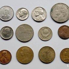 Monedas de España: COLECCIÓN DE 18 MONEDAS USADAS DE VARIOS PAÍSES. Lote 154621834