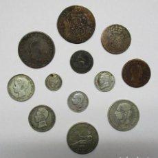 Monedas de España: CONJUNTO DE 12 MONEDAS ESPAÑOLAS ANTIGUAS. SIETE DE LAS MONEDAS EN PLATA. LOTE 1562. Lote 155760682