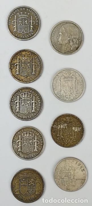 Monedas de España: 9 REPRODUCCIONES DE MONEDAS DE UNA PESETA. ESPAÑA 2000 - Foto 2 - 160947422